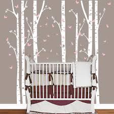 stickers déco chambre bébé énorme bouleau arbre papillon wall sticker vinyle amovible stickers