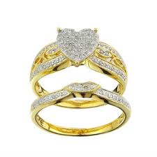 yellow gold bridal sets 10k yellow gold 1 3ct tdw diamond heart bridal set free shipping