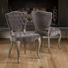 Best Selling Home Bates Tufted Fabric Dining Chair Set Of - Grey fabric dining room chairs