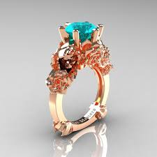 rose zircon rings images Love and sorrow 14k rose gold 3 0 ct blue zircon skull and rose jpg