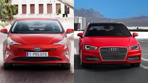 lexus ct200h vs audi a3 sportback 2016 toyota prius vs 2016 audi a3 sportback e tron youtube