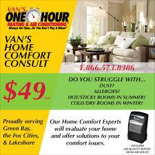 Always Comfortable Heating And Air Conditioning Hvac Repair U0026 Maintenance Discounts Van U0027s One Hour