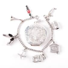 monogrammed locket sterling silver charm bracelet and monogrammed locket ebth