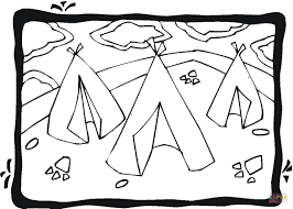 three wigwams coloring page free printable coloring pages
