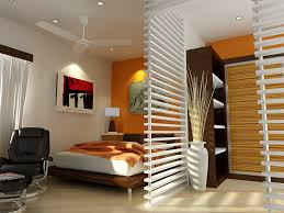 Small Bedroom Ceiling Lighting Bedroom Leather Arm Chair Brown Modern Varnished Wooden Slat Bed