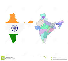 World Map Of India by Vector Map Of India With The States Colored In Bright Colors And