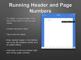 apa format in pages running header and page numbers to create a