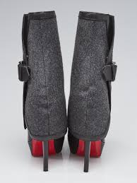 christian louboutin black leather and grey felt covered bianca 140