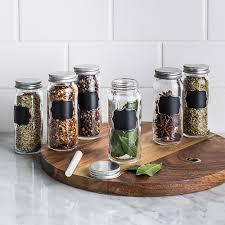 clear kitchen canisters ksp chalkboard glass spice jar set of 6 clear kitchen stuff plus