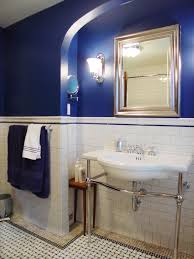 Color Schemes For Bathroom Cool Blue Theme With Nice Gold Square Frame Mirror Beside Shiny