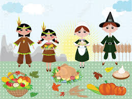 thanksgiving day background with indians and piligrims royalty