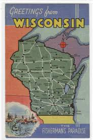 Road Map Of Wisconsin by My Life In Postcards Roadside America Linen Postcards Roadside