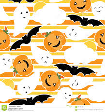 seamless pattern of cute pumpkin bat and ghost cartoon on striped