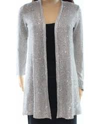 silver cardigan sweater deals on alfani silver s size pp sequined cardigan