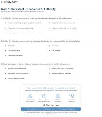 quiz u0026 worksheet obedience u0026 authority study com