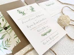 Wedding Invite Card Stock Cotton Cardstock Watercolour Olive Branch Design Printed Flat Card