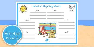 seaside rhyming words worksheet seaside sea side rhyme