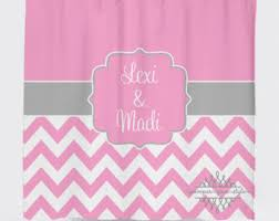 Pink And White Chevron Curtains Pink Shower Curtain Etsy