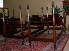 Antique Mahogany Bedroom Furniture Matched Pair Of Pineapple Posts Solid Mahogany Beds
