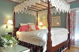 bedroom bedford queen canopy bed and black night stand for