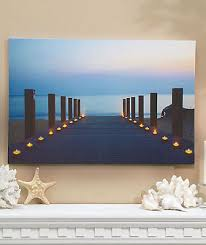 candles on dock lighted led canvas wall home living room