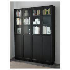 black bookcases with glass doors billy oxberg bookcase black brown 63x79 1 2x11 3 4