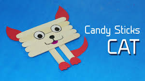 icecream stick fun crafts for kids cat face on popsicle stick