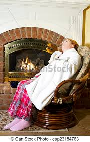Sleeping In A Chair Stock Image Of Mature Woman Dressed In Flannel Pajamas Sleeping In
