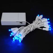 20 led battery operated lights blue on white wire novelty lights inc