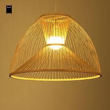 Shade Pendant Light Bamboo Wicker Rattan Yurt Shade Pendant Light Fixture Asian