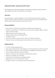 How To Write Job Profile In Resume Bookkeeper Job Description Bookkeeper Resume Sample Unforgettable