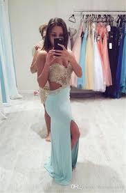 blue cutout waist slit prom dress 2016 with lace appliqued
