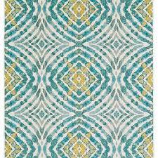 desert teal and yellow mosaic rug
