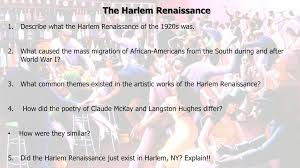 literature themes in the 1920s swbat describe how the literature of the harlem renaissance