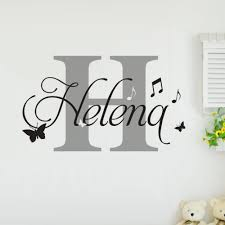 yex personalized name wall stickers decal music note butterfly