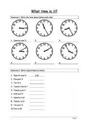 telling the time worksheet by mortisja022