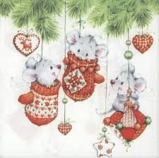 Christmas Mice Decorations Decoupage Paper Napkins Of Christmas Mice Playing In Tree U2013 Chiarotino