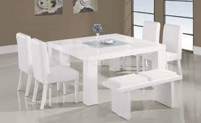 White Dining Room Furniture Sets White Lacquer Finish Modern 7pc Dinette Set W Glass Inlay Table