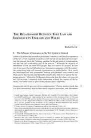 the relationship between tort law and insurance in england and
