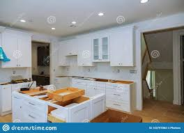 modern kitchen cabinets tools kitchen remodel furniture installation cabinet stock photo