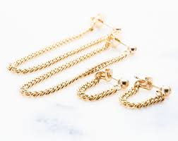 gold ear ring image gold chain earrings etsy