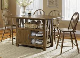 Kitchen Island With Seating For 5 5 Piece Island Pub Table And Windsor Back Counter Chairs Set By