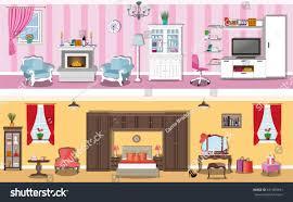set modern interior design house rooms stock vector 521483491