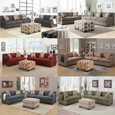 Sofa Ottoman Set Poundex 3 Pcs Faux Linen Upholstered Sofa Loveseat Ottoman Set In