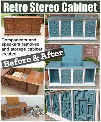 Repurposed Stereo Cabinet Retro Stereo Cabinet Repurposed In Sea Blue U0026 Off White Before