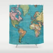 World Map Fabric Shower Curtain Vintage World Map Fabric Shower Curtain Antique Continents Globe