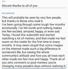 not a meme but a heartfelt message from me to all of you