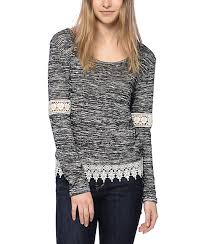 bart sweater trillium bart crochet trim black white sweater zumiez