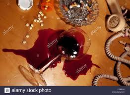 Retro Nightstand Spilled Wine And Pills On Retro Nightstand Stock Photo Royalty