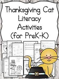 thanksgiving cat editable literacy activities for kindergarten